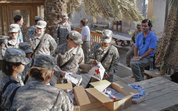 The impact of the Red Cross stretches all the way to places like Baghdad, Iraq, where female soldiers receive packets of hygiene items.