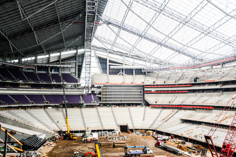The 1.75 million-square-foot US Bank Stadium will house seven levels and 65,400 seats under the largest clear ethylene tetrafluoroethylene roof in the United States—and the first on a stadium.