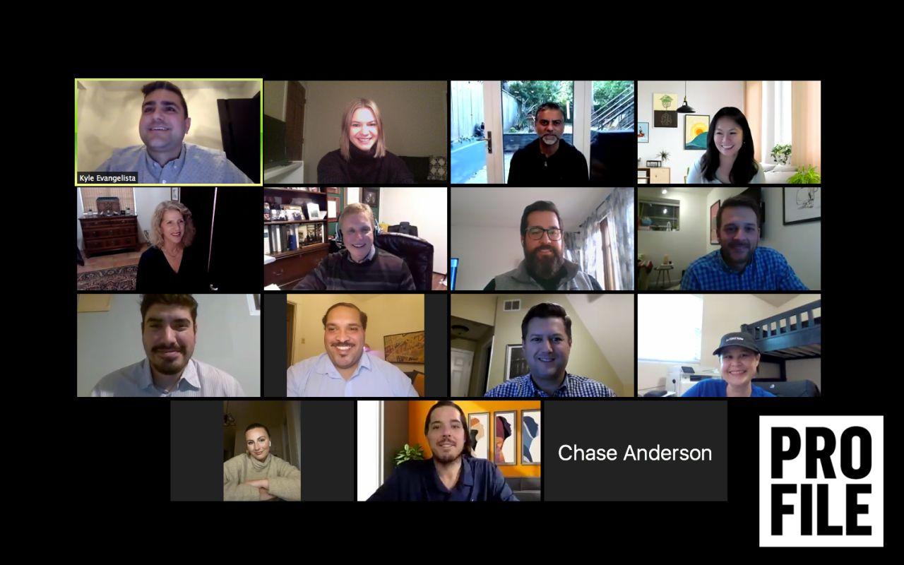 Zoom screenshot of finance leaders attending Behind the Numbers roundtable