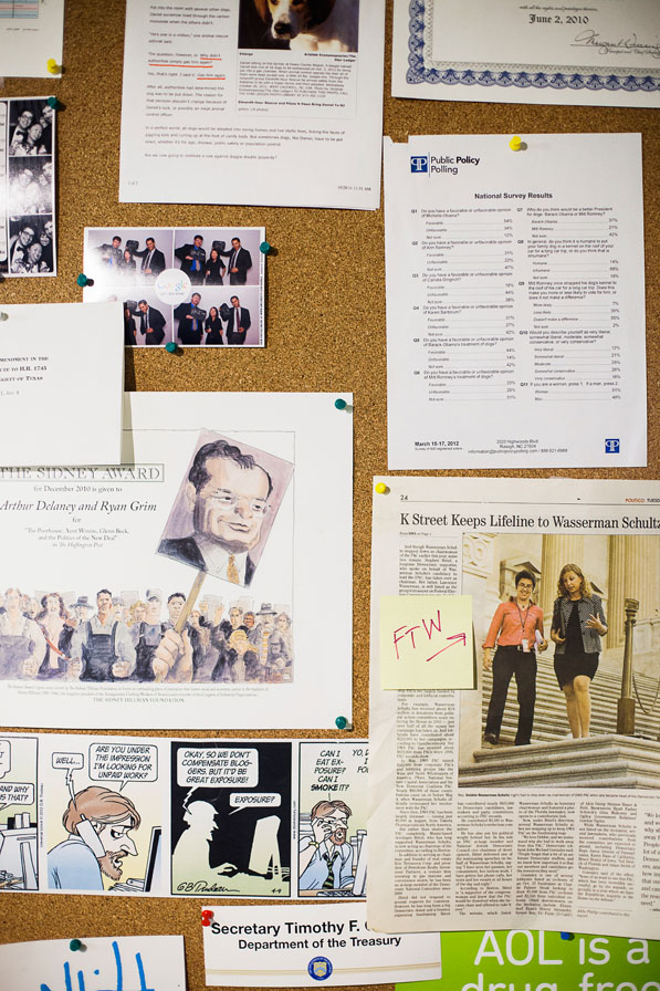 The journalist community board showcases favorite stories, political cartoons, and the aftermath of photo booth sessions.