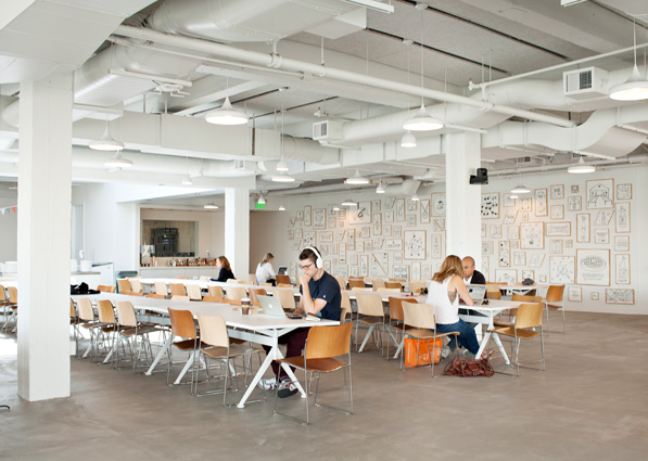 The Ate Ate Ate cafeteria (a play on the address of the headquarters, 888 Brannan Street), is a popular place for employees to snack and work at the same time.