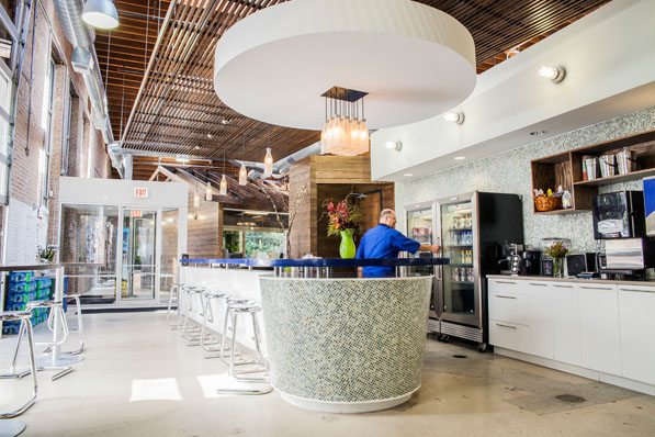 The real mixologists don't work at the milk bar, but in the on-site flavor lab. Their concoctions make their debut in the bar's soft-serve machine, where they are sampled by employees and passersby.