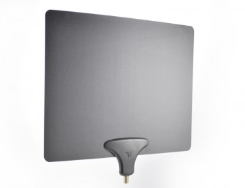 The Mohu Leaf is a multidirectional HDTV indoor antenna with a 35-mile range. Its groundbreaking paper-thin design permits mounting behind bookcases or artwork, and can be painted over to blend into a wall. The amplified version, the Leaf Ultimate, improves the clarity of the picture while extending its effective range by approximately 15 miles.